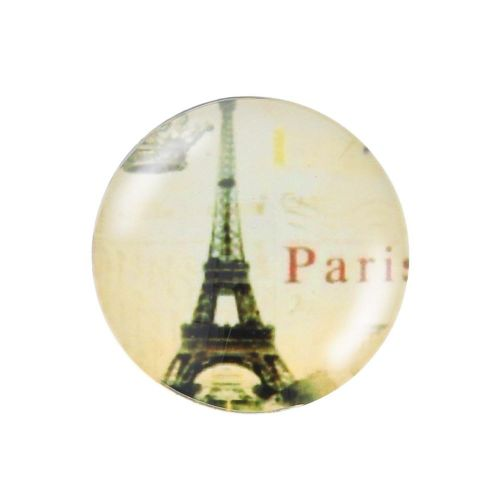 Glass cabochon with graphics K25 PT1271 / pink / 25mm / 2pcs