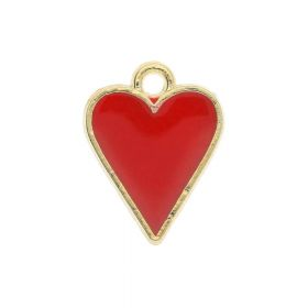 SweetCharm ™ Heart / pendant charms / 13x11x1.5mm / gold plated / red / 2pcs