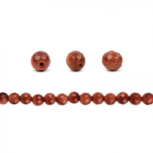 Brown Goldstone Faceted Round Beads 10mm Pk10