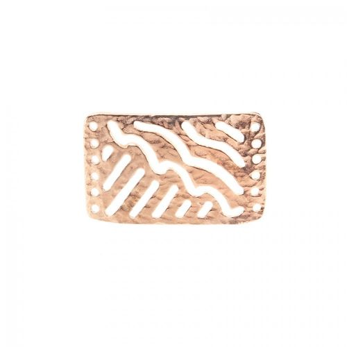 Rose Gold Plated Patterned Rectangle Connector 20x30mm Pk1