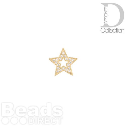 Gold Plated Cut Out Star Bead Cubic Zirconia 12mm Pk1