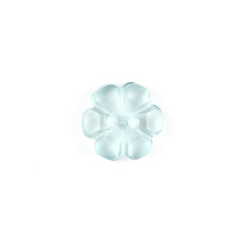 X-Turquoise Transparent Flower 2 Hole Buttons 13mm Pk5