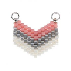 Grey/Pink/White Miyuki Seed Bead Arrow Connector 14x17mm Pk1