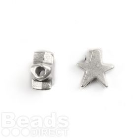 Antique Silver Star Bead Charm 10mm Pk2