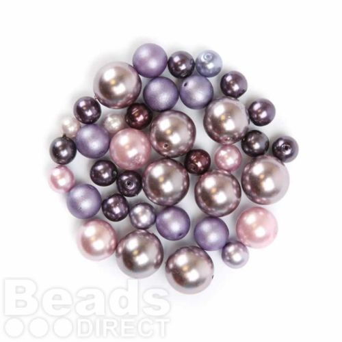 Preciosa Czech Glass Pearl Mix in Lilac Assorted Sizes 50g