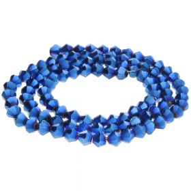 CrystaLove™ crystals / glass / bicone / 2mm / dark blue / lustered / 198pcs