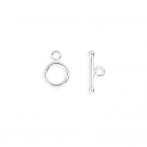 Sterling Silver 925 Small Plain Round Toggle Clasp 16x19mm 1xSet
