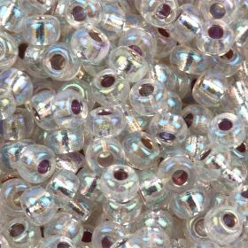 Miyuki Size 8 Round Seed Beads Silver Lined Crystal AB 22g Tube