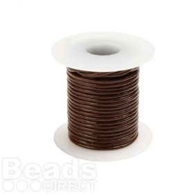 Brown Round Leather Cord 1mm 5Metre Reel