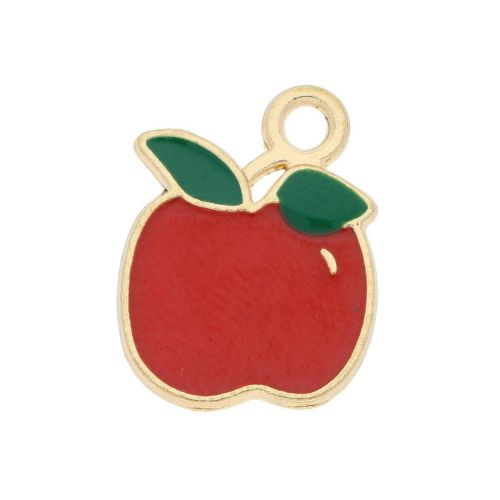 SweetCharm ™ Apple / charm pendant / 17x13x1.5mm / gold plated / red / 2pcs