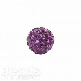 Dark Amethyst Crystal 8mm Premium Shamballa Fashion Round Pk1