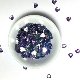 Acrylic / flat back / faceted / heart / embellishment / purple / 8x7x1mm / ~9g