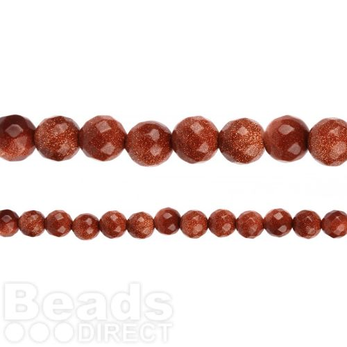 "X-Brown Goldstone Faceted Round Beads 10mm 14"" Strand"