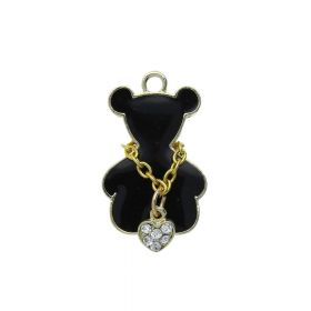 SweetCharm ™ Necklace Bear / charm pendant / with crystals / 21x15x2.5mm / gold plated / black / 1pc