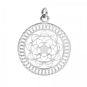 Sterling Silver 925 Flower Mandala Charm 24mm Pk1