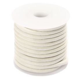 White Round Leather 3mm Cord 5 Metre Reel