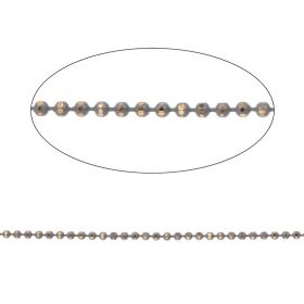 Grey and Gold Diamond Cut Ball Chain 2mm with x10 Clasps 1metres