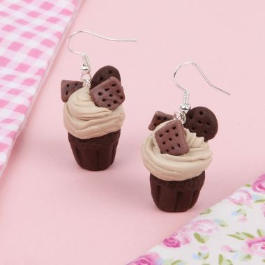 Chocolate Biscuit Cupcake Earrings