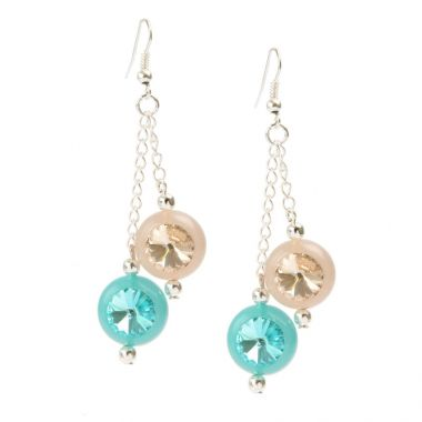 Crystal Orb Turquoise Silk Earrings