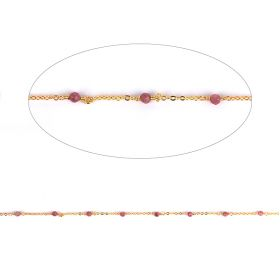 Pink Tourmaline Semi Precious Gold Plated Chain 2.5mm Pre Cut 1metre