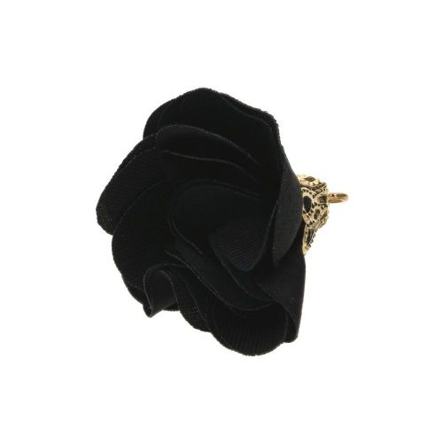 Satin Flower / with an openwork tip / 26mm / Gold Plated / black / 2 pcs