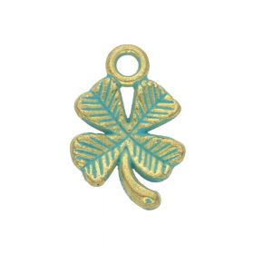 Clover / charm pendant / 15x10x2.5mm / antique gold - aqua / 8pcs