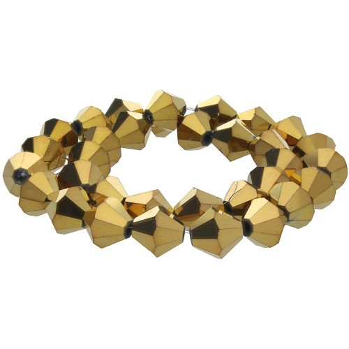 CrystaLove™ crystals / glass / bicone / 3mm / gold / lustered / 148pcs
