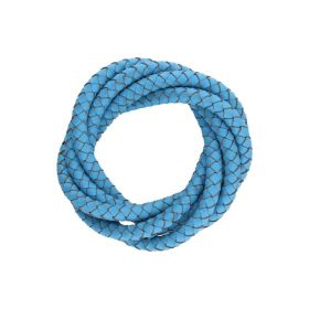 Leather cord / natural / round / braided / 4mm / azure / 1m