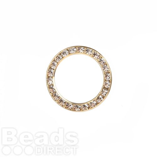 Gold Plated Clear Crystal Ring 21mm Hole-15.5mm Pk1