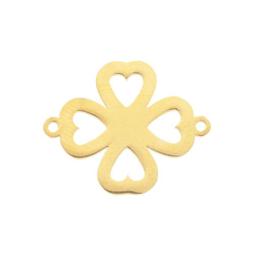 Clover / connector / surgical steel / 20x16x1.1mm / gold / 1pcs