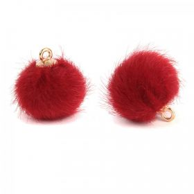 Dark Red Faux Fur Pom Pom Ball Charm with Gold Loop 16mm Pk2