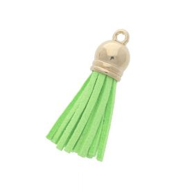 Suede leather tassel / with end cap / 40mm / golden, light green / 2mm hole / 4pcs
