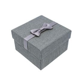 Gift box / bow and pillow / 9x9x6cm / grey / 1pcs