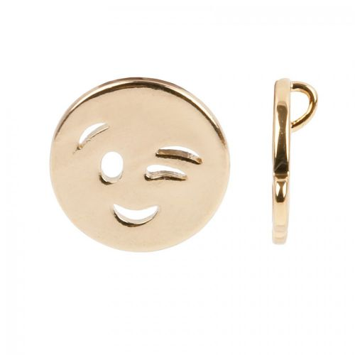 Gold Plated Emoticon Charm Winking Face 12mm Pk1