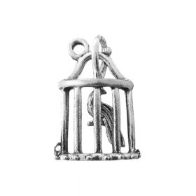 Bird in a cage / charm pendant / 19x13mm / silver / 1pcs