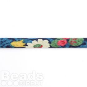 Liberty of London Spaghetti Ribbon Blue Floral Mix 4mm 1m