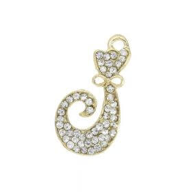 Glamm ™ Cat with bow tie / charm pendant / with zircons / 21x11mm / gold plated / 1pcs