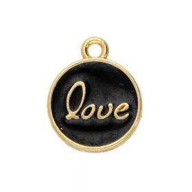SweetCharm ™ Love  / pendant / 15x12mm / gold plated / black  / 2pcs