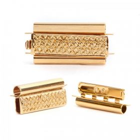 Gold Plated Beadslide Clasp Cross Hatch Design 13x24mm Pk1