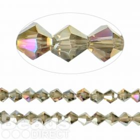 Essential Crystal 8mm Bicones Gunmetal AB Pk35