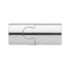 Magnetic clasp / surgical steel / overlap / 21x9x9mm / silver / hole 8mm / 1pcs