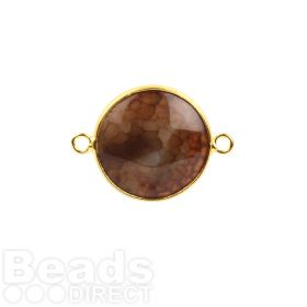 Light Brown Agate Gold Plated Round Connector 23mm Pk1