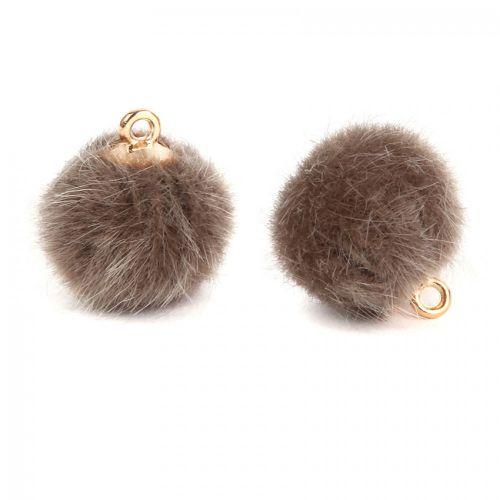 """""""X"""" Brown Faux Fur Pom Pom Ball Charm with Gold Loop 16mm Pk2"""