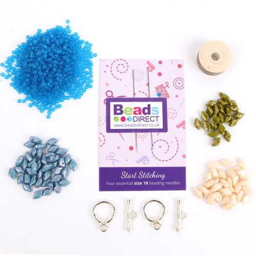 Beads Direct Poinsettia GemDuo Bracelet - Blue and Silver - Makes x3