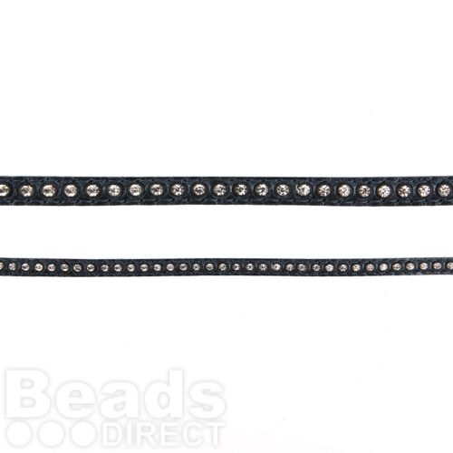Navy Swarovski Real Leather with Crystals 6mm 50cm