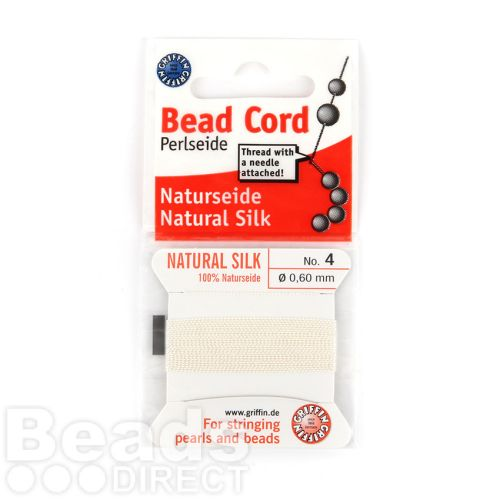 Griffin Perlseide 4 Bead Cord 100% Silk White 0.60mm with Needle 2m