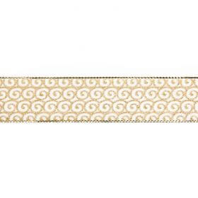 Gold and White Swirl Print Fancy Ribbon 25mm Pre Cut 1m Length