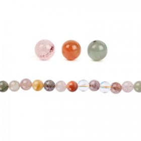 Multi Colour Rutilated Quartz Round Beads 10mm Pk10