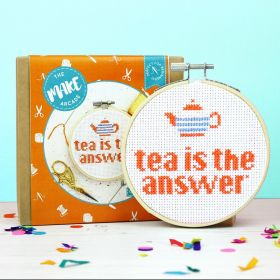 The Make Arcade Cross Stitch Tea is the Answer Kit