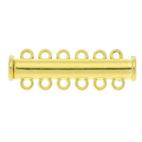 Magnetic clasp / overlapping / 6 loops / 11x35x7mm / gold / 1.5mm hole / 1pcs